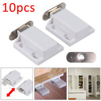 10x White Magnetic Heavy Duty Cupboard Cabinet Catches Door Wardrobe Latches UK