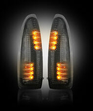 2003-2007 Ford Super Duty 250 350 Smoked Side Mirror Lenses w/ Amber LED Lights