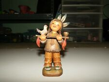 "Anri Ferrandiz Carved Wood Peace Pipe Ltd Ed 6"" Tall Figurine"
