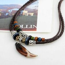 Men's Leather Vintage Jewelry Necklace Wolf Rope Pendant Multilayer Tooth Beaded