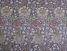 "WILLIAM MORRIS CURTAIN FABRIC ""Kennet"" 3.6 METRES GRAPE & GOLD LINEN UNION"