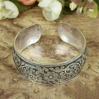 UK Women Tibetan Tibet Silver Flower Carved Bangle Cuff Fashion Bracelet Jewelry