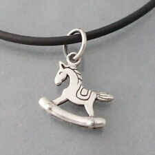 Cute 15mm 2-sided Rocking Horse .925 Silver Pendant