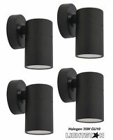 4 x Black Outdoor Exterior Fixed Cylinder Wall Lights 240V 35W GU10
