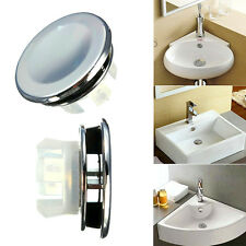 Round Overflow Cover Tidy Trim Chrome  Bathroom Basin Sink Spare Replacement 1x