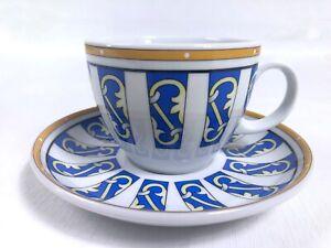 Vintage Seltmann Weiden Bavaria Tea Cup and Saucer Yellow Blue Gold Stripe Bars