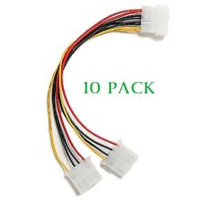 Molex 4 Pin Female Power Supply Y Splitter Cable to 4 Pin Male/Female - 10 Pack