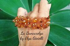 Bracciale artigianale in filigrana di rame e cristalli ambra. bracelet copper
