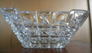 Great Vintage Square Glass Bowl with Geometric Circle Design