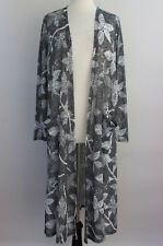 Large LuLaRoe Noir Blanc Sarah Duster Cardigan Black White Floral Dots 22