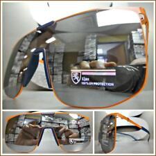 RETRO SHIELD Style Party Rave Club DJ SUN GLASSES Orange Frame Flat Mirror Lens