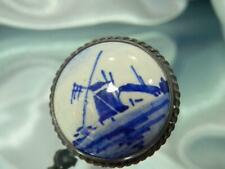 Delft Signed Blue White Pained Windmill Vintage 20's Dainty Round Brooch 861ag1