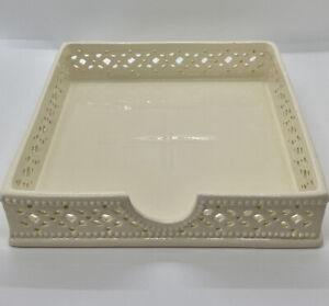 Vintage Creamware Square Napkin Serviette Towel Holder, Porcelain Jewellery Tray