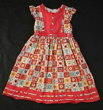 Donita Dress Floral Salmon Orange Patchwork Squares Party Fancy Girls Harvest 8