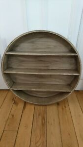 Wooden Rustic Brown / Grey Circular Shelving Storage Unit With Hooks On The Back