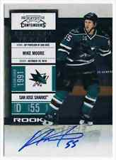 2010-11 PANINI PLAYOFF CONTENDERS MIKE MOORE AUTO SAN JOSE SHARKS #158
