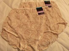 2 Ivory/Tan Print BALI 2633 Skimp Skamp Nylon Brief Panties *NEW* XXL 9