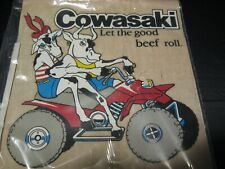 "80s 1988 ""Cowasaki"" Kawasaki 4-wheeler ""Let the good beef roll"" Iron-On Transfer"