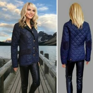 JOULES JACKET SIZE 8 NAVY QUILTED COTTON LINING ZIP+SNAPS CLOSURE #9