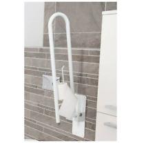 Fold Away Grab Bar Sturdy Wall Mounted Bathroom Toilet Safety Rail Roll Holder