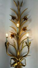 "40"" Hollywood Regency Wall Sconce Light Italian Gilt Vintage Gold Metal Tole"