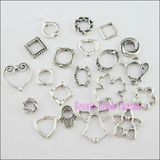40Pcs Mixed Tibetan Silver Bead Frame Charms