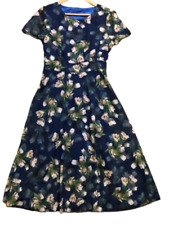 Unbranded Blue Floral Tulips Chiffon Short Sleeves Midi Dress  Size L