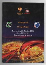 Orig.PRG     Europa League  11/12   HANNOVER 96 - FC KOPENHAGEN  !!  SELTEN