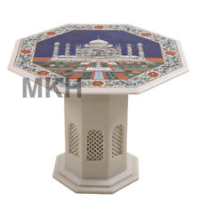 Marble Coffee Table White Marble Vintage Art Stone Inlay End Table Top Marquetry