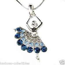 w Swarovski Crystal ~Blue BALLERINA~~ Ballet Dancer Dance Pendant Chain Necklace