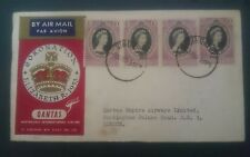 1953 Qantas First Flight FDC QE Queen Elizabeth II Coronation 12 Malaya States