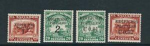 SALVADOR 1931 POSTAL TAX set wth EDIFICIOS POSTALES and revalue (Sc RA4-7) MLH