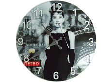 Retro Pop Art Classic Glass Audrey Hepburn Picture Glass Wall Clock/ Funky /UK