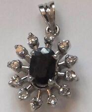 18k Sapphire and Diamond 18ct White Gold Pendant