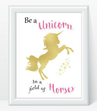 Unicorn Gold EFFECT A4 Print Quote Daughter Friend Gift Christmas
