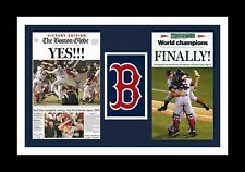 BOSTON RED SOX WIN 2004 WORLD SERIES MATTED PHOTO OF NEWSPAPER FRONT PAGES