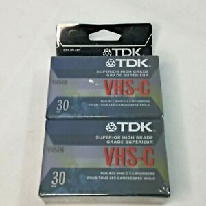 VHS-C Blank Tapes Unopened Compact 2 Pack Extra High Grade TDK For Camcorders