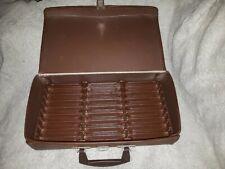 Vtg Cassette Carrying Case Brown Vinyl 24 Audio Tape Media Storage Travel