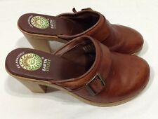 WOMENS EARTH SPIRIT EMMA BROWN LEATHER SLIP ON MULES HEELS SHOES SZ 6