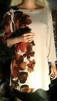 Susan Graver New Women's sz L Floral Print Liquid Knit Bateau Neck Top Tan Brown