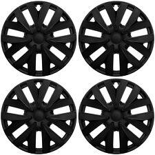 "4 Pc Set of 15"" BLACK MATTE Hub Caps Skin Rim Cover for Steel Wheel Cap Covers"