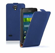 SLIM BLUE Leather Flip Case Cover Pouch For Mobile Phone Huawei Y5 (Y560)