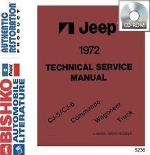 1972 Jeep CJ Wrangler Wagoneer Shop Service Repair Manual CD Engine Drivetrain