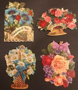 Die Cut Flowers Roses note cards Cut Out Kirshner Collection Ephemera Lot Of 4