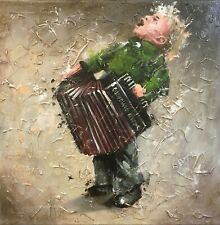"""Boy"" Music, Accordion, Art, Oil, Canvas"