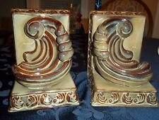 "Beautiful Pair of Glazed Ceramic Bookends-7"" Tall x 6"" Deep x 5"" Across"