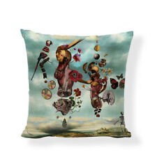 Salvador Dali Inspired Abstract Linen Square Pillow Cushion Cover.