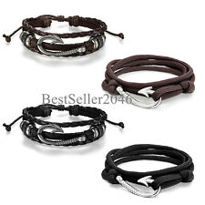 4pcs Men Women Nautical Fish Hook Couple Nylon Ropes Bracelets Leather Cuff Set