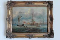 Antique Oil painting on Canvas Old British Ships Seascape with Frame Signed