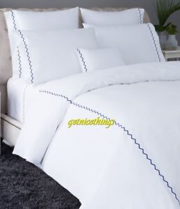 New Yves Delorme ZigZag White Saphir Blue Embroidery Twin Flat Sheet 100% Cotton
